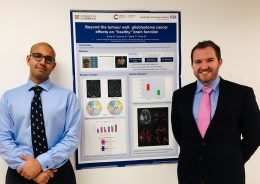 "Dr Sinha (left) and Dr Goacher before their winning poster ""Beyond the tumour wall: glioblastoma cancer effects on ""healthy"" brain function"""