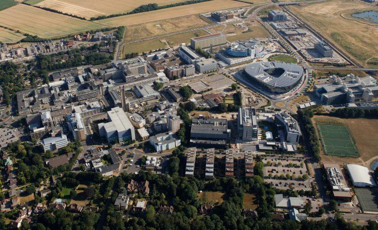 Aerial image of Cambridge Biomedical campus