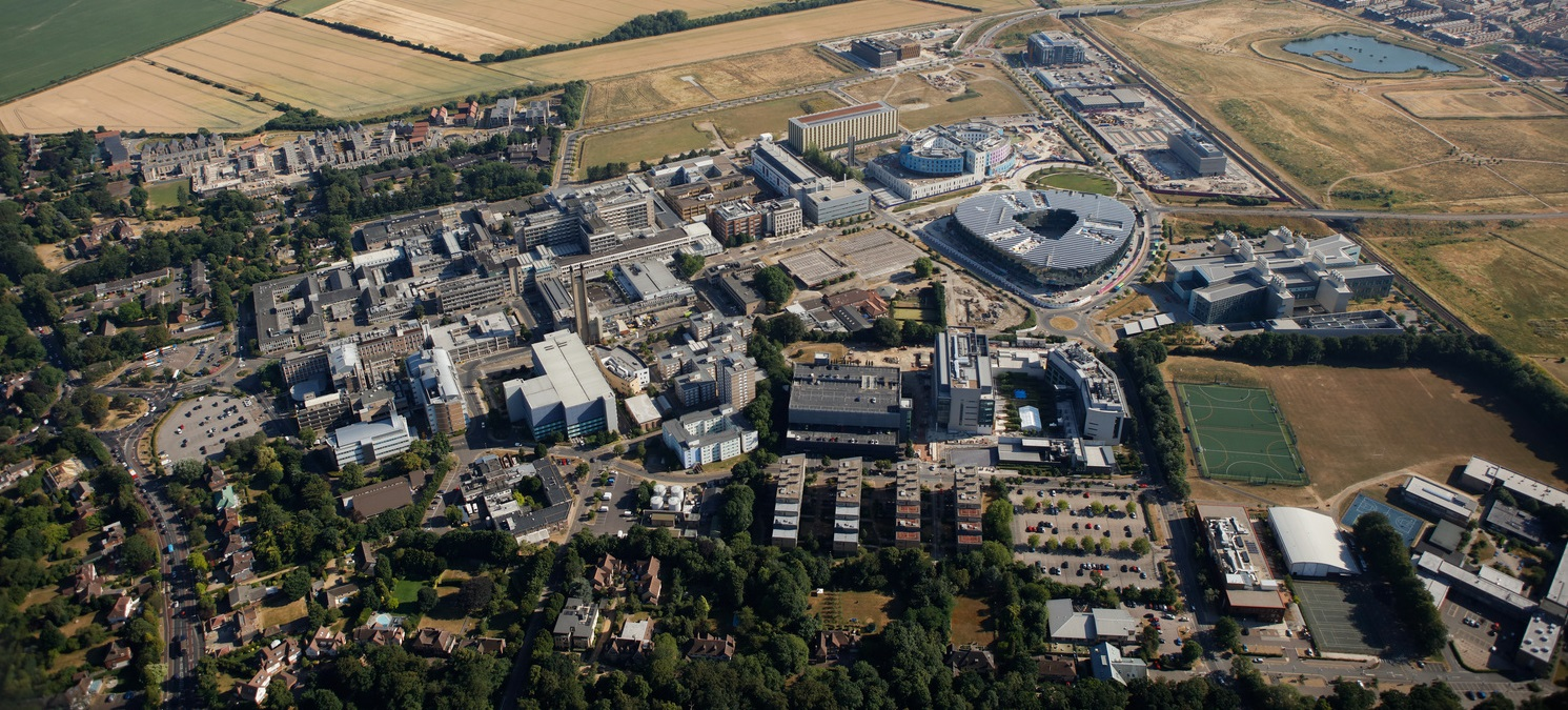 Click on this aerial photo of Cambridge Biomedical campus to open an interactive map