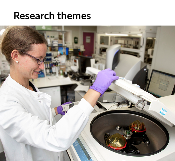 Photo of lab researcher, click to link to our research themes